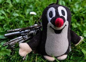 Eine Plüschmaus am Schlüsselbund liegt in Grass. Daneben Schlüsselbund der jemand in Hannover verloren hat.